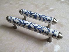 "3 3/4"" 96 Ceramic Dresser Drawer Pulls Handles White Indigo Blue / Art Deco Kitchen Cabinet Handles Pull Handle Retro Furniture Hardware L13"