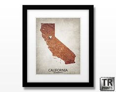 California Custom State Map Art Print - Home Town Love - Original Customizable Giclee Print 11x14