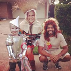 DIY Halloween family costume idea: Tin Man, Scarecrow and Cowardly Lion from Wizard of Oz