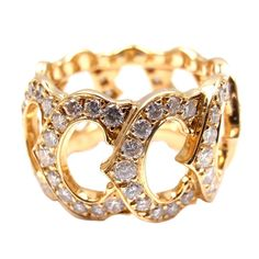 CARTIER Diamond C de Cartier Yellow Gold Ring | From a unique collection of vintage cluster rings at http://www.1stdibs.com/jewelry/rings/cluster-rings/