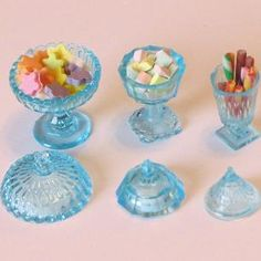 CHR68b -candy dishes -3 dishes, each with lid @ $5.50 - 9/6/15