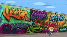 A Boy Playing With Water Balloons At A Graffiti Wall :  A boy with blond hair and blue eyes wearing a blue shirt gray jeans red with white sneakers smirks while throwing the blue water balloon in his right hand left hand still holds a green water balloon. Set in a graffiti wall full of modern design and art the words vector toons love art street and peace in different colors.