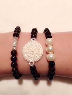Dark brown and pearls charms