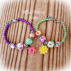 Boho kids bracelet Flower children bracelet Polymer by MSwithlove