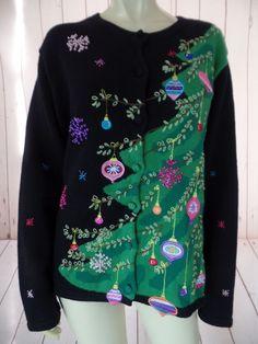 KAREN SCOTT Sport Ugly Christmas Sweater XL Black Ramie Cotton Applique Beads
