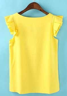 $18 Yellow Plain Round Neck Short Sleeve Chiffon T-Shirt