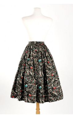 Pinup Couture- Jenny Skirt in Black Vintage Spanish Fan Print   Pinup Girl Clothing