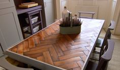 THE GREAT INTERIOR DESIGN CHALLENGE Series 2: Winner Martin Holland created a wonderful kitchen table from parquet.
