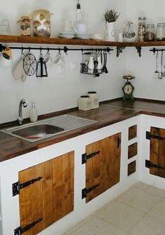 Rustic Kitchen Design, Kitchen Room Design, Wooden Kitchen, Bathroom Interior Design, Kitchen Interior, Kitchen Decor, Home Kitchens, Kitchen Remodel, Sweet Home