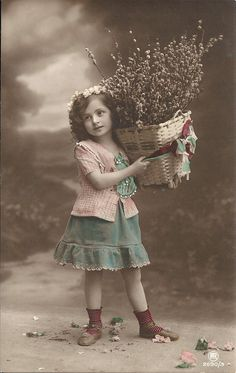 Pussy willow, vintage girl, flowers in hair, blue green dress, French cutie, real photo girl, vintage fashion, hand tinted (rppc/ch203)