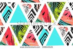 Hand drawn vector abstract summer time collage seamless pattern with watermelon,aztec and tropical palm leaves motif isolated.Unusual decoration for wedding,birthday,fashion fabric,save the date