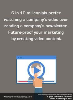 6 in 10 millennials watching a company's video over reading a company's newsletter. Future-proof your marketing by creating video content. Read our blog to learn more about video marketing: [Click on the image] #omagency #video #marketing