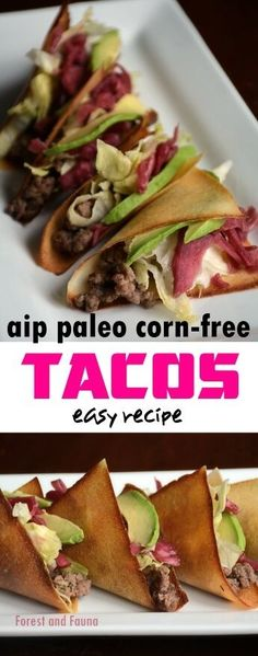 """These simple crunchy (corn-free) taco shells are super easy to make. I fill them with seasoned grass-fed beef, wilted cabbage, pickled onions or kraut, and avocado, always avocado. This recipe was featured in my first low starch cookbook called """"Pure and Simple Paleo"""" which I am in the process of rewriting to be an even..."""