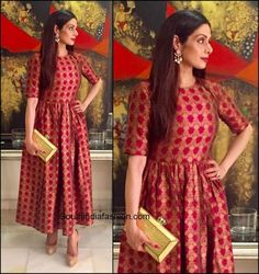 Sridevi Kapoor in Payal Khandwala Sridevi Kapoor was spotted recently in this red festive Payal Khandwal dress. Earrings by Sunita Kapoor was the perfect touch to this outfit. Frock Fashion, Indian Fashion Dresses, Indian Gowns Dresses, Dress Indian Style, Indian Designer Outfits, Gypsy Fashion, Steampunk Fashion, Gothic Fashion, Indian Wear