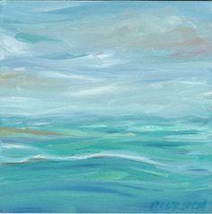 Seascape Abstract Oil Painting on 4x4 Panel | GildedOwlJewelry - Painting on ArtFire