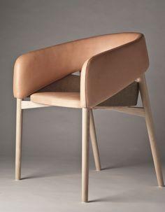 Thomas Alken; Ash, Linen and Leather 'Dino' Chair, 2012.