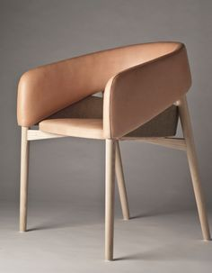 Thomas Alken; Ash, Linen and Leather 'Dino' Chair, 2012.