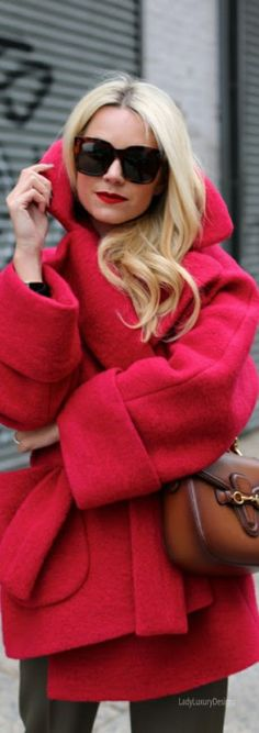 Red cashmere wrap coat - classic style.
