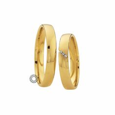 Βέρες γάμου Saint Maurice 87024 & 87025 - Συλλογή LIGHT - Λιτές χρυσές βέρες με 3 διαμάντια στη γυναικεία βέρα | Βέρες ΤΣΑΛΔΑΡΗΣ #βέρες #βερες #γάμου