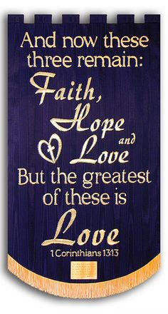 Faith, Hope, & Love Memorial Banner - Christian Banners for Praise and Worship