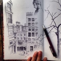 #drawanyway- a sketchbook drawing from Union Square New York from a few months back #ballpoint pen on paper by dinabrodsky