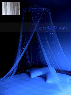 Surround your bed with a cascade of falling stars! Clean white bedroom decor with hundreds of glowing stars handpainted on the canopy for the night time. Further enhance your nights with a spread of stars placed across the ceiling, choose the tiny extra star sticker decals to create your own starry night sky.  + Sprinkled with realistic, hand painted stars and heavenly star dust. + Stars glow ALL night. + Exquisitely beautiful and safe night light for children. + The most romantic and…