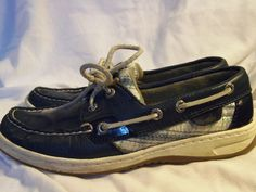 Sperry Top-Sider Boat Shoes 5.5 Medium Leather Navy Plaid Patent Trim  #SperryTopSider #BoatShoes #Casual