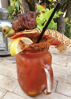 O-Bo Restaurant and Wine Bar - Northwood - Bloody Mary with Filet Mignon and lobster