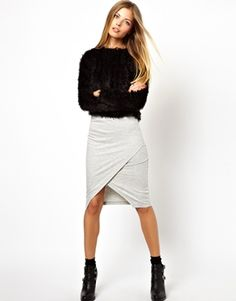 e19700ee5c6e89 ASOS Pencil Skirt In Sweat With Wrap Detail at asos.com