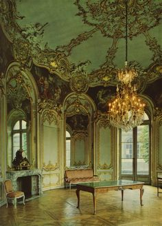 Salon de la Princesse from The Hotel Sobbise by Germain Boffrand, with painting and decoration by Charles Joseph Natoire, 1732. Paris. French Rococo style
