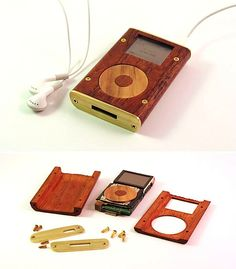 Instead of letting it fall by the tech wayside, Josh D recased his old iPod in lovely wood & brass - My finished wood ipod mini.