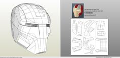 pdo file template for Iron Man - Mark 16 Helmet +FOAM+. Iron Man Helmet, Iron Man Suit, Iron Man Armor, Cardboard Paper, Paper Toys, 3d Paper Crafts, Paper Art, Pepakura Designer, Ironman
