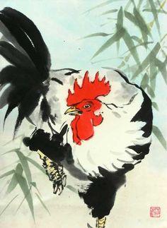 rooster-closeup.jpg (436×597) Featured artist: #JanZaremba #brushpainting#sumie http://www.asianbrushpainter.com/blog/gallery/jan-zaremba/