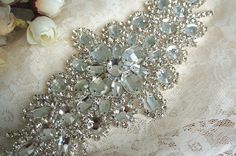 Rhinestone Applique Bridal Accessories Crystal Trim by lacetime