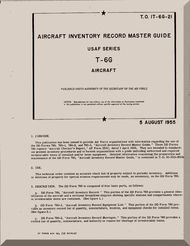 North American Aviation T-6 G   Aircraft  Parts Inventory Record Master Guide Manual -  TO 1T-6G-21 - 1955