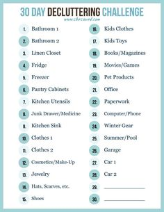 Print out my FREE 30 Day decluttering challenge printable to help you get a jump start on organizing and spring cleaning! We can do this!Day by Day Day by Day may refer to: Deep Cleaning Tips, House Cleaning Tips, Spring Cleaning, Cleaning Hacks, Diy Hacks, Cleaning Challenge, Cleaning Checklist, Music Challenge, Cleaning Lists