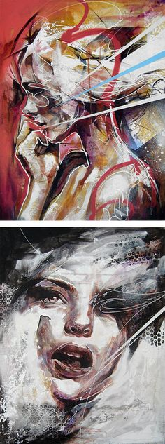 "Beautiful paintings by UK-based artist Danny O'Connor (aka DOC). ""Concentrating mainly on figurative and portrait subject matter, his influences include comic books, graffiti, illustration, and… Pintura Graffiti, L'art Du Portrait, Portrait Paintings, Abstract Portrait Painting, A Level Art, Face Art, Oeuvre D'art, Painting & Drawing, Amazing Art"
