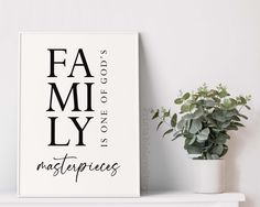 Family room wall decor,Family wall art,Family wall decor,Family is one of God's masterpieces,Living room decor,Dining room wall art,Home art by PrintableLoveStory on Etsy Dining Room Wall Art, Room Wall Decor, Living Room Decor, Bedroom Decor, Family Room Walls, Family Wall Decor, Or Mat, Christian Wall Art, Home Quotes And Sayings