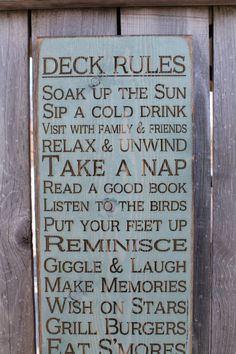 Vintage Style laser engraved custom personalized Porch, Deck, Patio Rules Typography Word Art Sign