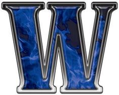 Reflective Letter W with Inferno Blue Flames