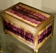 "Blue John casket, made in later half of 19thc from material probably mined in the 18thc. England. 4""H x 7.5""W x 4""D."