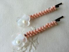 BACK TO SCHOOL, White Flower Bobby Pins Beaded Floral Hair Pins by CharlotteJewelryBox, $9.00