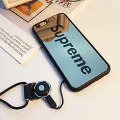 supreme シュプリーム iphone8/8plusケース鏡面 ネックストラップ付き iphone7 iphone7plusケース ペア カップル用
