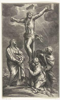 Cornelis Bloemaert (II) | Kruisiging van Christus, Cornelis Bloemaert (II), Ciro Ferri, 1656 - 1692 | Christus aan het kruis genageld. Maria staat links aan de voet van het kruis. Johannes de Doper en een heilige vrouw zijn rechts van het kruis afgebeeld.