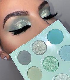 Mint Makeup, Shimmer Eye Makeup, Edgy Makeup, Makeup Eye Looks, Green Makeup, Colorful Eye Makeup, Eye Makeup Art, Mint Eyeshadow, Colourpop Eyeshadow