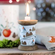 Webband Rotkehlchen 16mm Enjoy The Silence, Pillar Candles, Candle Holders, Shabby Chic, Winter, Christmas, Carpet, Noel, Pattern Books