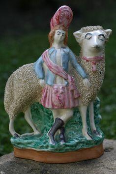 FINE MID 19th c. STAFFORDSHIRE CREAMWARE of APPLIED CHIPPED DECOR SHEEP & FIGURE | eBay