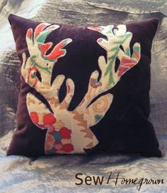 "Sew Homegrown: DIY Anthropologie-inspired ""blooming deer"" pillow  Fun idea. and, of course, you can do it with any print, any solid and any object. Why not put a bird on it?"