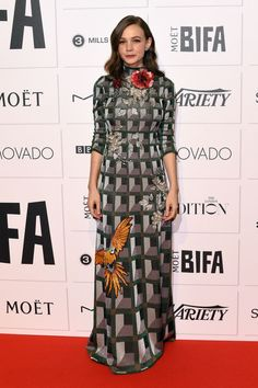 Striking look: Carey Mulligan, proved she has impeccable style as she made a glamorous appearance at the Moet British Independent Film Awards in London on Sunday night Post Baby Body, Gucci Dress, Carey Mulligan, Red Carpet Gowns, Formal Looks, Film Awards, Gray Dress, Star Fashion, Nice Dresses