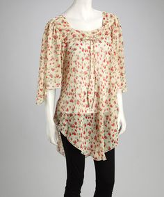 This Cream Sheer Floral Drape-Sleeve Tunic is perfect! #zulilyfinds